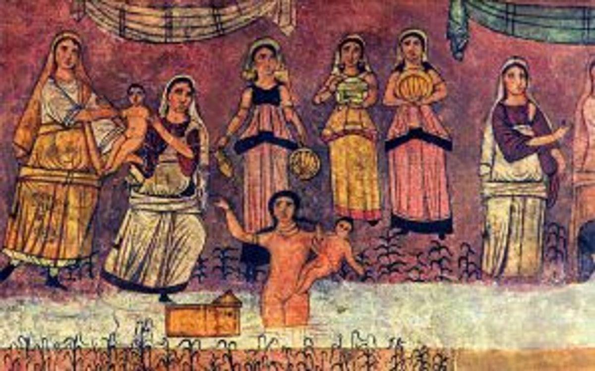 Dura_Europos_fresco_Moses_from_river-300x187